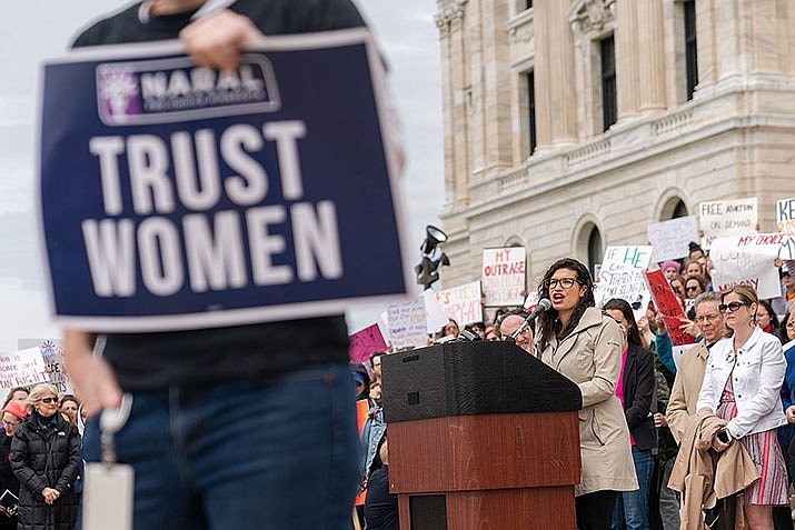 Erin May Quade speaks at #StopTheBans rally in St. Paul, Minnesota on Thursday, May 23, 2019. (Photo by Lorie Shaull, cc-by-sa-2.0, https://bit.ly/2VLoI8p)
