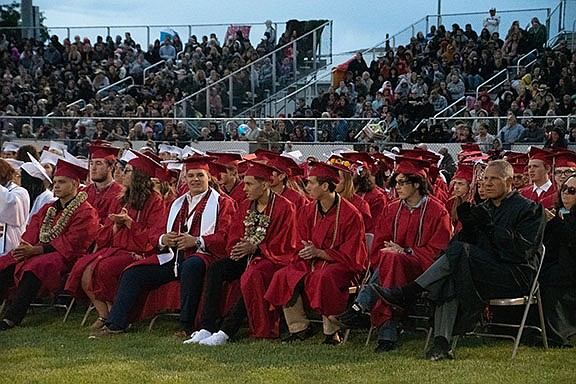 Seniors await to receive their diplomas during the Lee Williams High School graduation Wednesday, May 22, 2019 at LWHS field. (Photo by Vanessa Espinoza/Daily Miner)