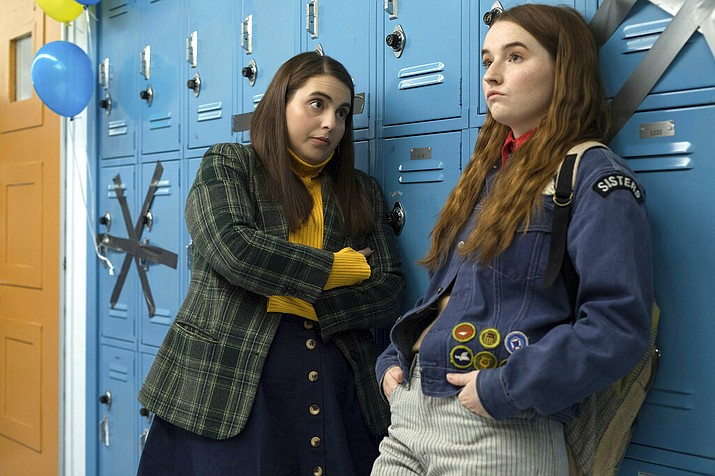 "This image released by Annapurna Pictures shows Beanie Feldstein, left, and Kaitlyn Dever in a scene from the film ""Booksmart,"" directed by Olivia Wilde. (Francois Duhamel/Annapurna Pictures via AP)"