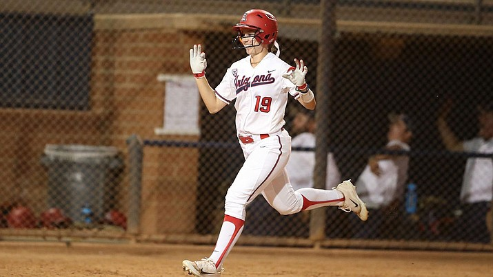 Arizona junior Jessie Harper has 65 career home runs, more than any other player still active in the NCAA Tournament. (Photo courtesy of Stan Liu/Arizona Athletics)