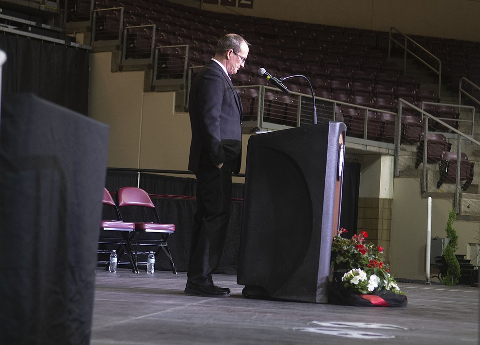 Principal Kort Miner has a quiet moment before Bradshaw Mountain High School graduated 334 students in a commencement ceremony Thursday, May 23 at the Findlay Toyota Center in Prescott Valley. (Les Stukenberg/Courier)