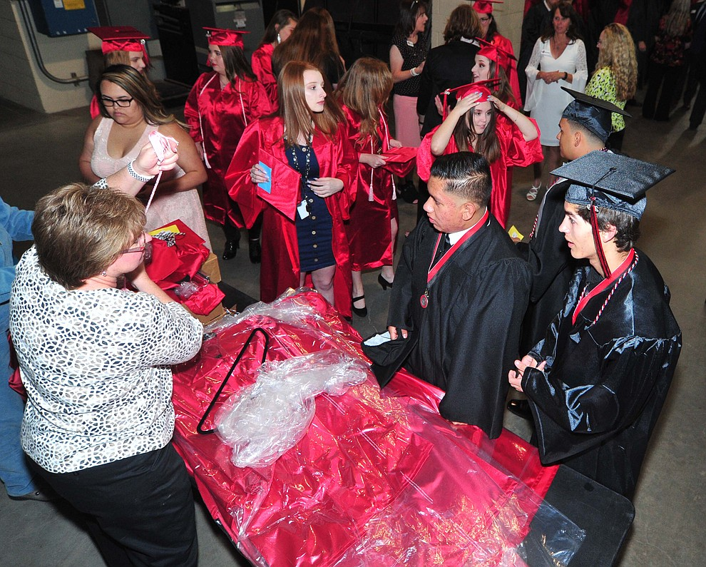Students get some last minute essentials before Bradshaw Mountain High School graduated 334 students in a commencement ceremony Thursday, May 23 at the Findlay Toyota Center in Prescott Valley. (Les Stukenberg/Courier)