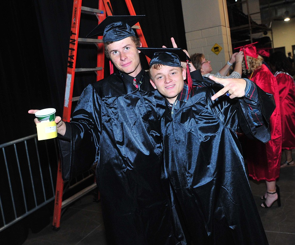 Robert Adams and Deiden Bennett before Bradshaw Mountain High School graduated 334 students in a commencement ceremony Thursday, May 23 at the Findlay Toyota Center in Prescott Valley. (Les Stukenberg/Courier)