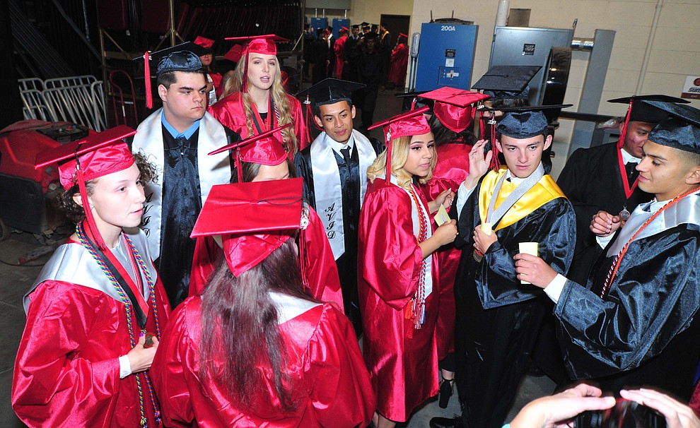 Students wait back stage before Bradshaw Mountain High School graduated 334 students in a commencement ceremony Thursday, May 23 at the Findlay Toyota Center in Prescott Valley. (Les Stukenberg/Courier)