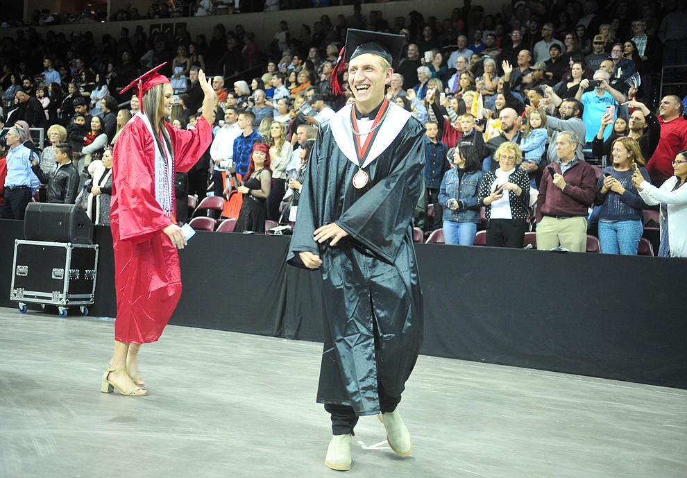 Students walk in the processional as Bradshaw Mountain High School graduated 334 students in a commencement ceremony Thursday, May 23 at the Findlay Toyota Center in Prescott Valley. (Les Stukenberg/Courier)