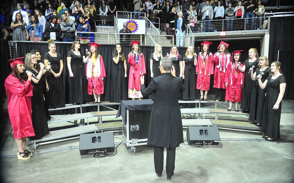 The Bradshaw Mountain Women's Ensemble sings the National Anthem as Bradshaw Mountain High School graduated 334 students in a commencement ceremony Thursday, May 23 at the Findlay Toyota Center in Prescott Valley. (Les Stukenberg/Courier)