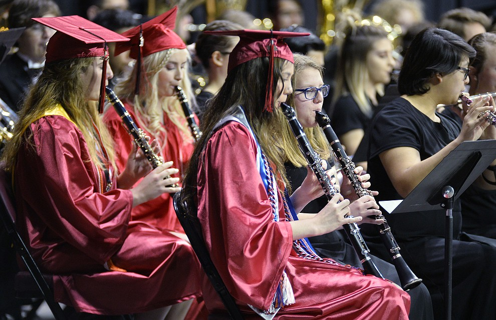 The Bradshaw Mountain Band plays a selection of music as Bradshaw Mountain High School graduated 334 students in a commencement ceremony Thursday, May 23 at the Findlay Toyota Center in Prescott Valley. (Les Stukenberg/Courier)