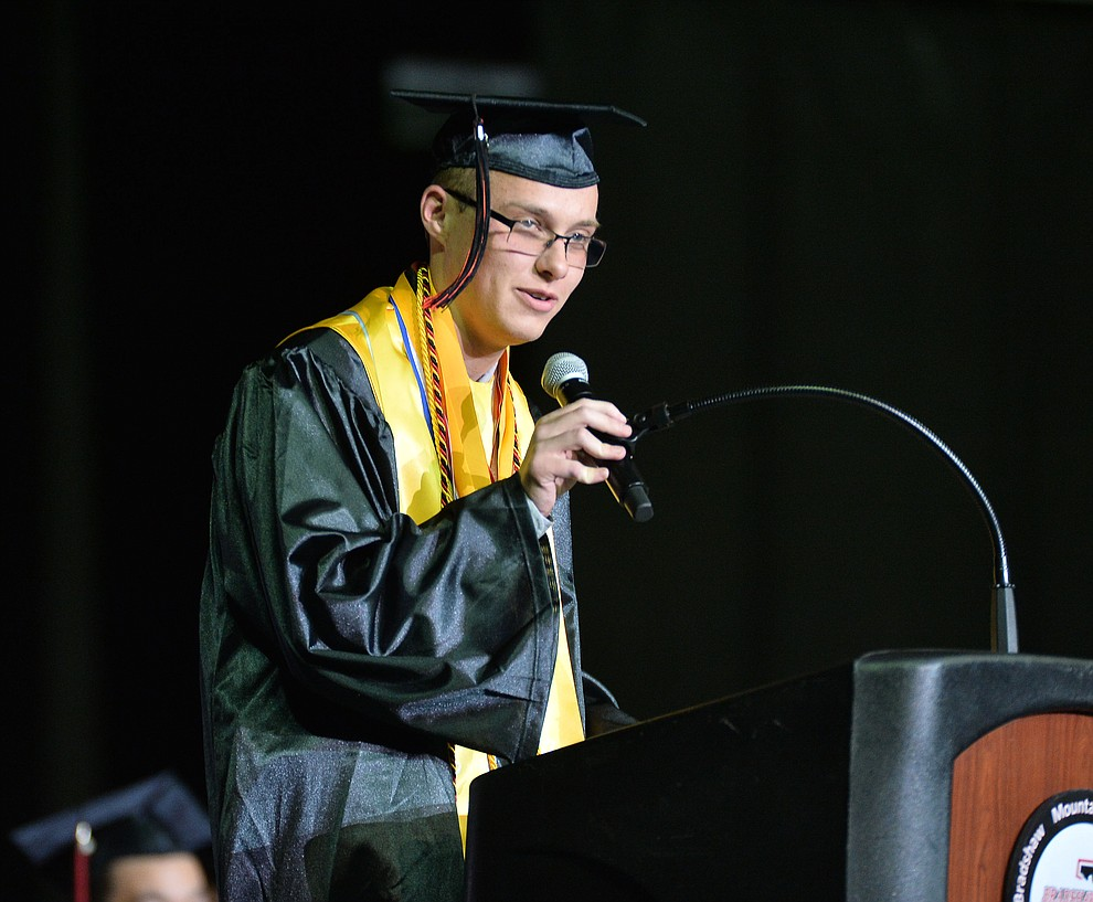 Valedictorian Joshua Sutton speaks as Bradshaw Mountain High School graduated 334 students in a commencement ceremony Thursday, May 23 at the Findlay Toyota Center in Prescott Valley. (Les Stukenberg/Courier)