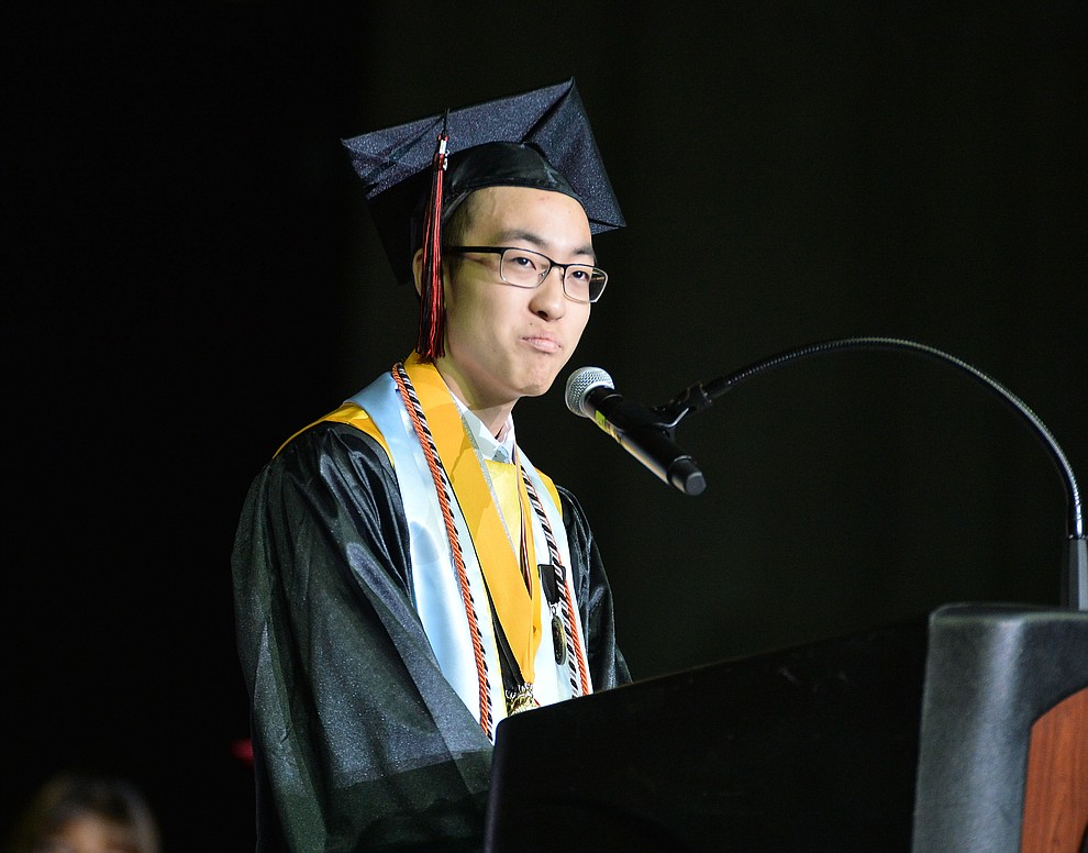 Salutatorian Kintaro Richards speaks as Bradshaw Mountain High School graduated 334 students in a commencement ceremony Thursday, May 23 at the Findlay Toyota Center in Prescott Valley. (Les Stukenberg/Courier)