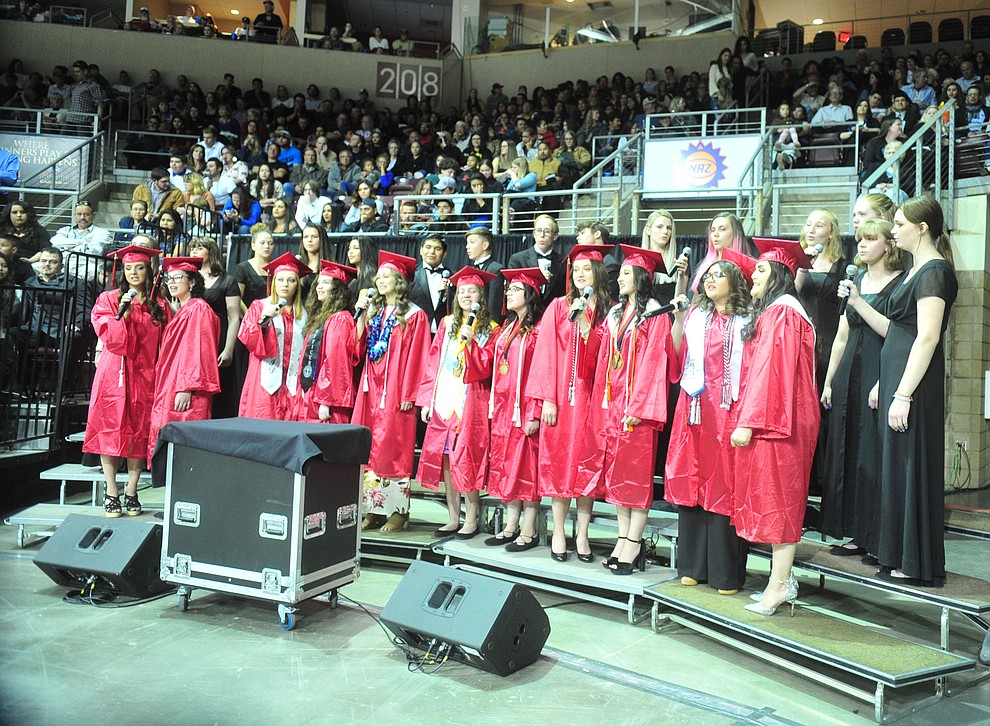 The Choral Union sings Seasons of Love as Bradshaw Mountain High School graduated 334 students in a commencement ceremony Thursday, May 23 at the Findlay Toyota Center in Prescott Valley. (Les Stukenberg/Courier)