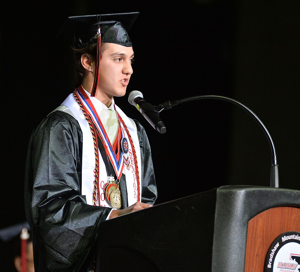 Parker Bennett gives The Rose Talk as Bradshaw Mountain High School graduated 334 students in a commencement ceremony Thursday, May 23 at the Findlay Toyota Center in Prescott Valley. (Les Stukenberg/Courier)
