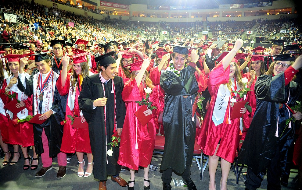 Graduates move their tassles from right to left as Bradshaw Mountain High School graduated 334 students in a commencement ceremony Thursday, May 23 at the Findlay Toyota Center in Prescott Valley. (Les Stukenberg/Courier)