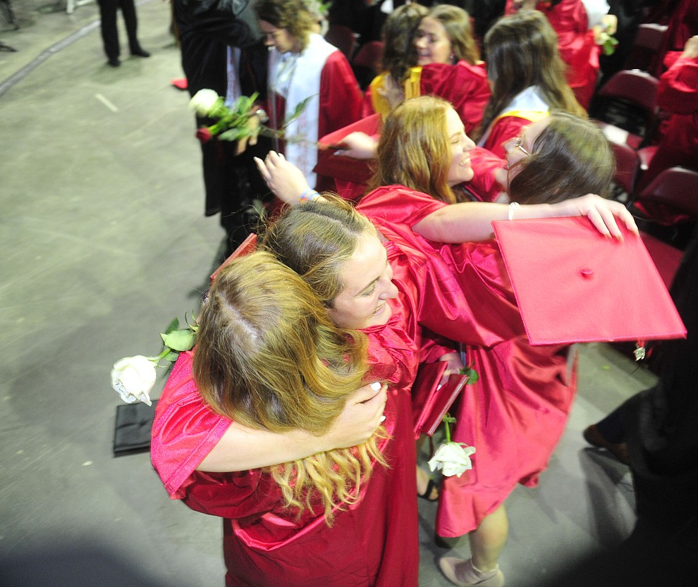 Celebrations begin after Bradshaw Mountain High School graduated 334 students in a commencement ceremony Thursday, May 23 at the Findlay Toyota Center in Prescott Valley. (Les Stukenberg/Courier)