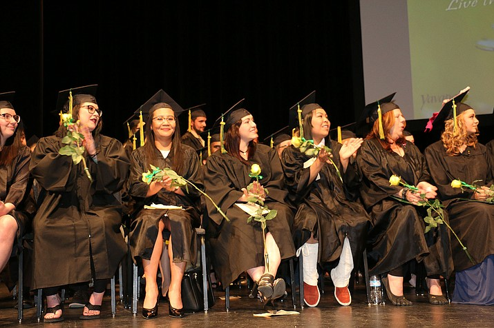GED earners on the stage during their graduation May 18 at Yavapai College. (Yavapai College/Courtesy)
