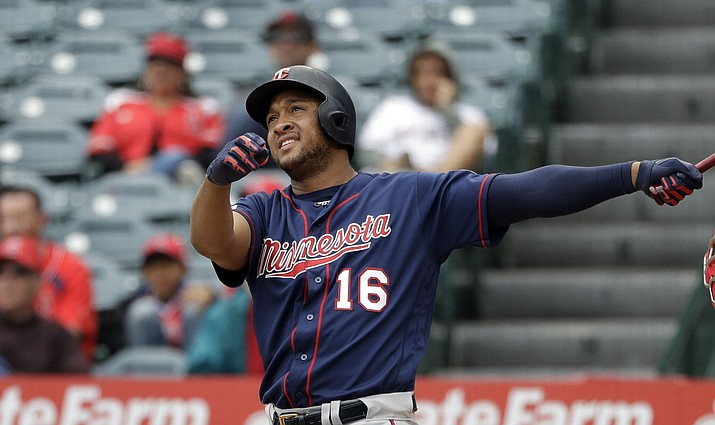 Minnesota Twins' Jonathan Schoop follows the path of his three-run home run against the Los Angeles Angels during the second inning of a baseball game Thursday, May 23, 2019, in Anaheim, Calif. (Marcio Jose Sanchez/AP)