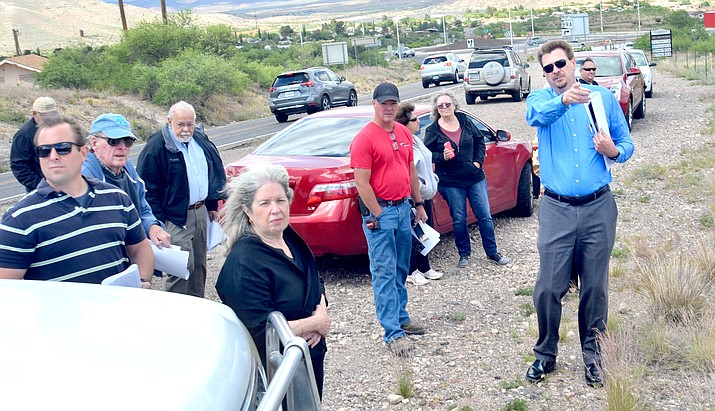 Ryan Weed, of CVL Consultants, leads a site visit of the proposed APS substation in Clarkdale on SR89A  Tuesday. VVN/Vyto Starinskas