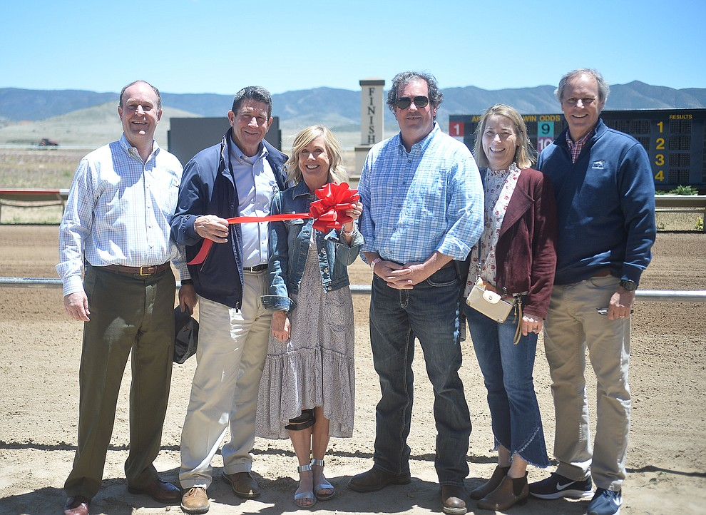 The ownership group, from left, Dave Auther, Joe and Lynne Jackson, Tom Auther and Mike and Tammy Auther at opening day of Arizona Downs Friday, May 24 in Prescott Valley. The racetrack reopens under new ownership after being closed for 10 years. (Les Stukenberg/Courier)