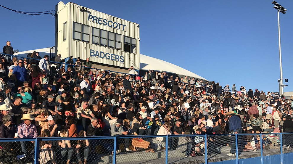 A capacity crowd watches as Prescott High School graduated 301 students in a commencement ceremony Friday, May 24 on Bill Shepard Field in Prescott. (Les Stukenberg/Courier)