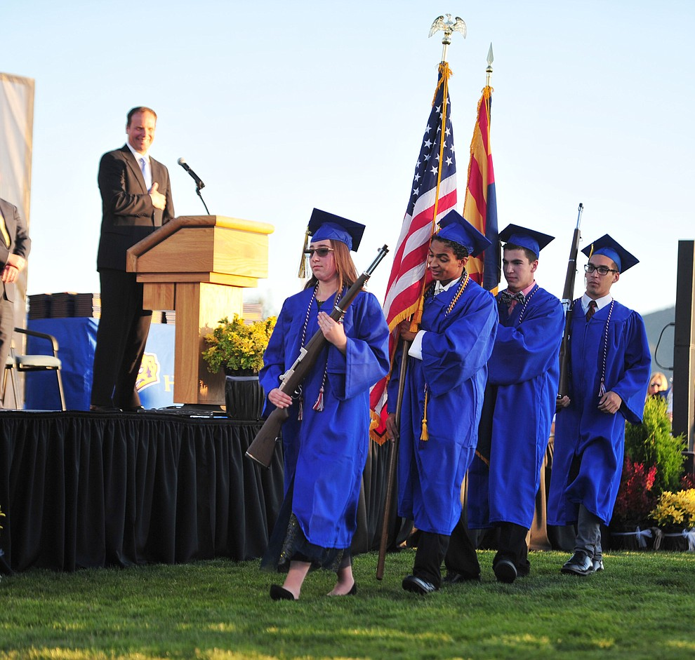 The Air Force Junior Reserve Officer Training Corps presents the colors as Prescott High School graduated 301 students in a commencement ceremony Friday, May 24 on Bill Shepard Field in Prescott. (Les Stukenberg/Courier)