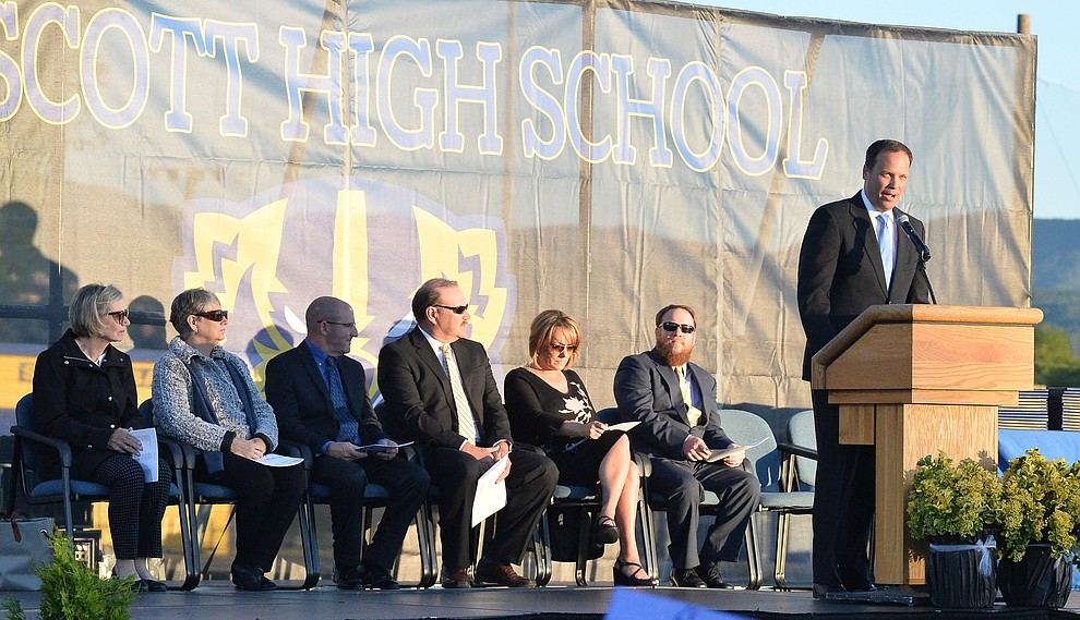 Principal Mark Goligoski speaks as Prescott High School graduated 301 students in a commencement ceremony Friday, May 24 on Bill Shepard Field in Prescott. (Les Stukenberg/Courier)