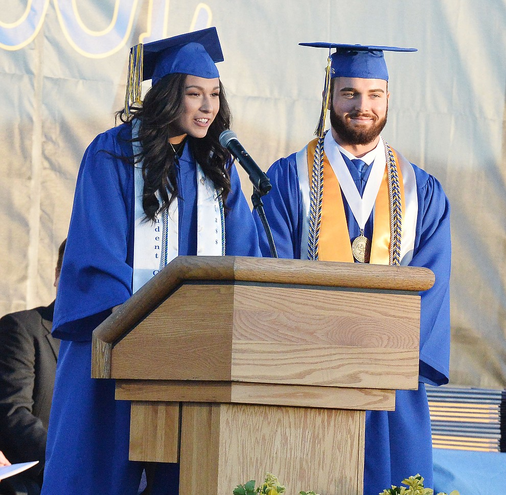 Student Body President Taylor Lopez speaks as Prescott High School graduated 301 students in a commencement ceremony Friday, May 24 on Bill Shepard Field in Prescott. (Les Stukenberg/Courier)
