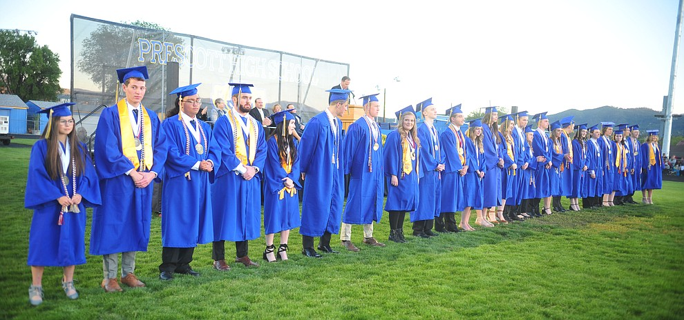 Graduates with Distinction are honored as Prescott High School graduated 301 students in a commencement ceremony Friday, May 24 on Bill Shepard Field in Prescott. (Les Stukenberg/Courier)