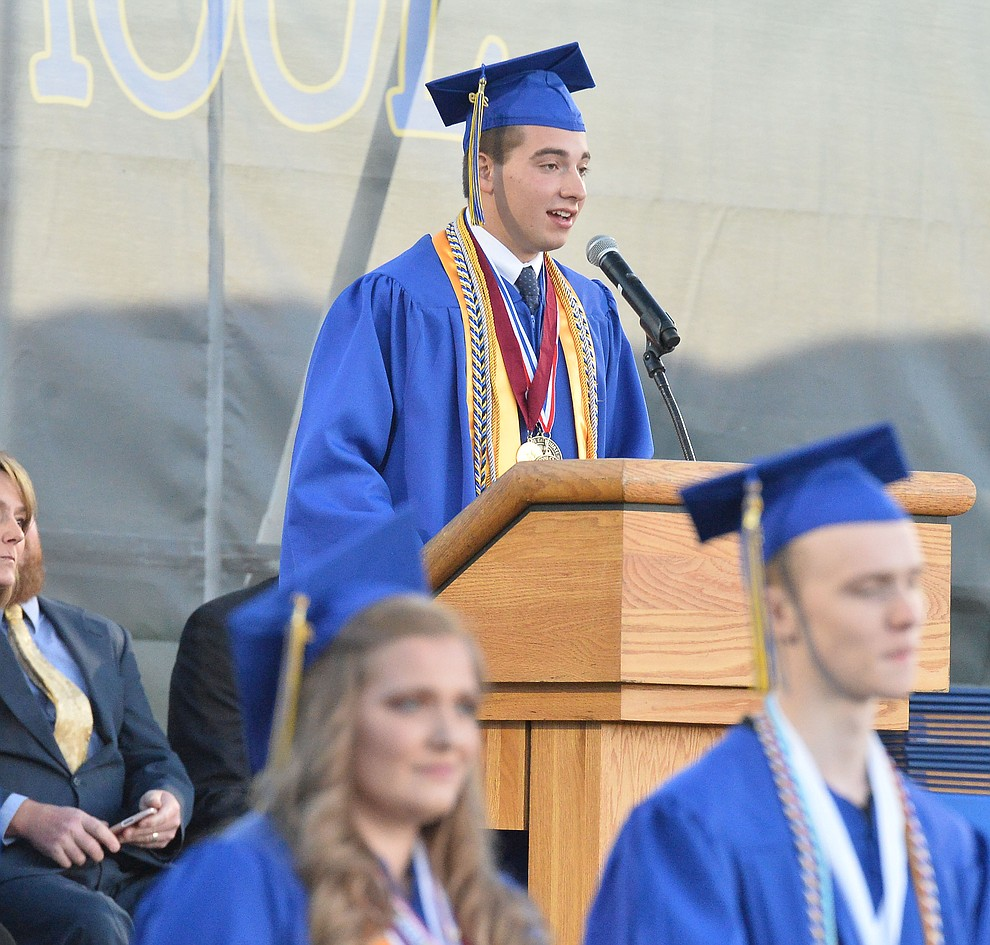 Colton Amos speaks for the Graduates with Distinction as Prescott High School graduated 301 students in a commencement ceremony Friday, May 24 on Bill Shepard Field in Prescott. (Les Stukenberg/Courier)