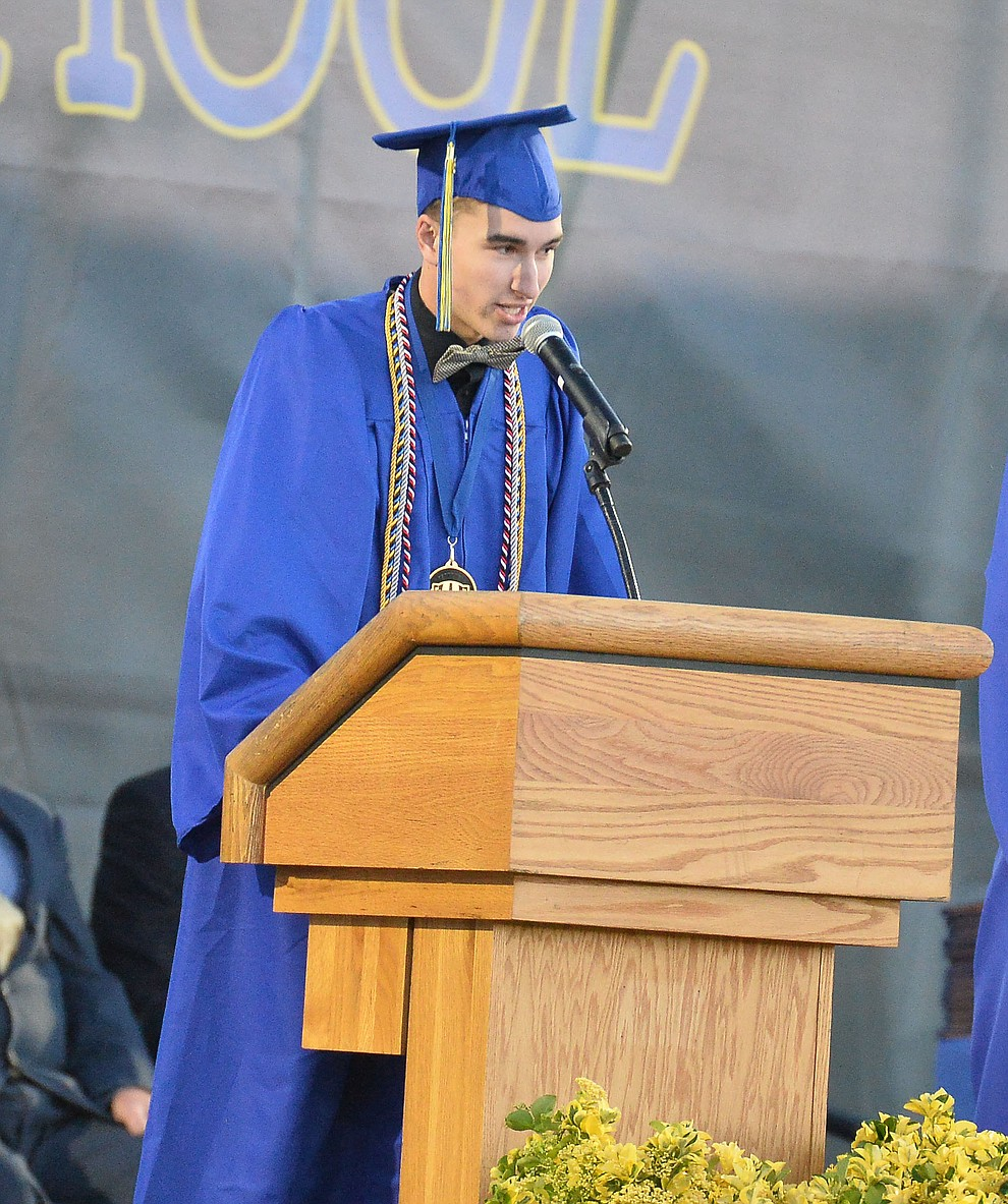 Senior Class Vice President Cole Fernandez speaks as Prescott High School graduated 301 students in a commencement ceremony Friday, May 24 on Bill Shepard Field in Prescott. (Les Stukenberg/Courier)