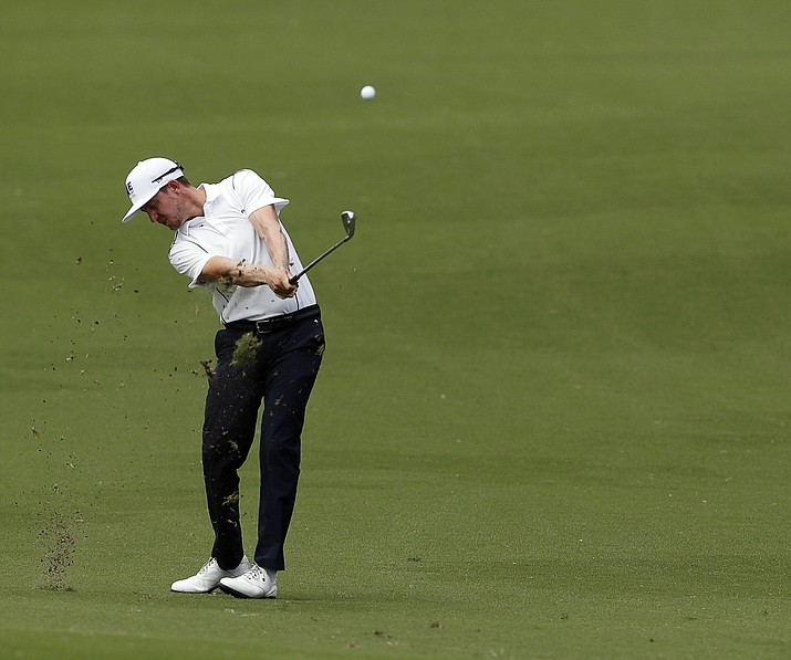 Jonas Blixt hits from the 18th fairway during the second round of the Charles Schwab Challenge golf tournament at Colonial Country Club in Fort Worth, Texas, Friday, May 24, 2019. (Bob Booth/Star-Telegram via AP)