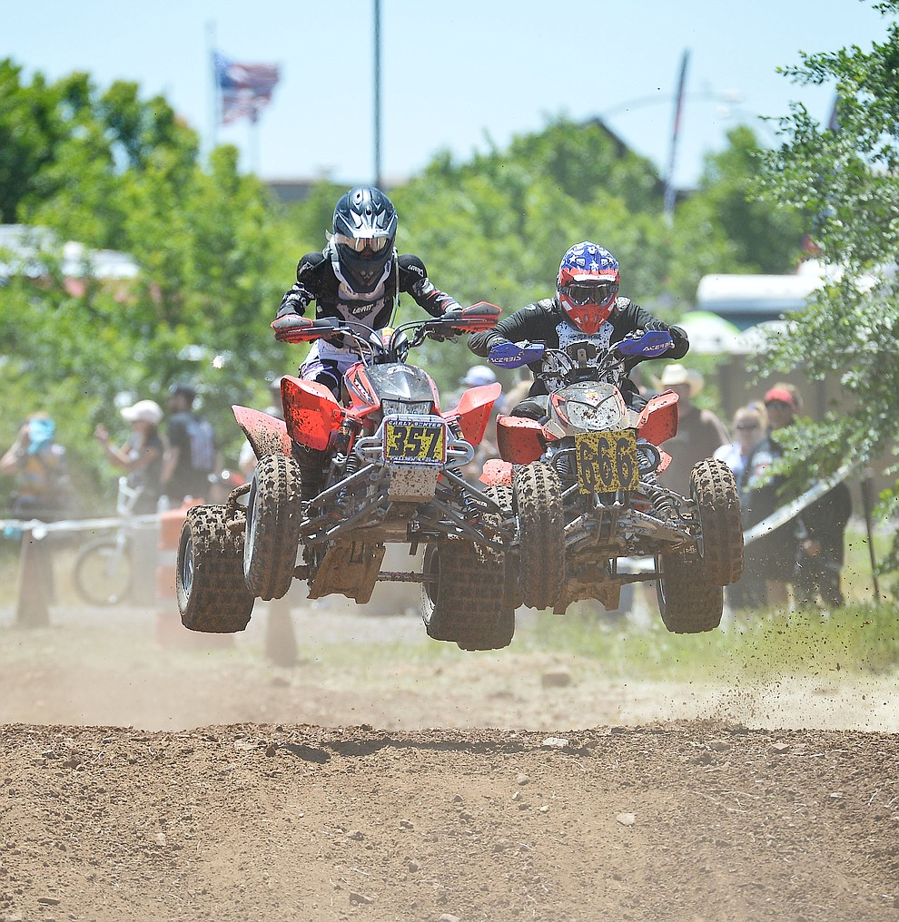 Quads were in action at the noon time hour during Arizona Off Road Promotion's Prescott Valley Grand Prix near the Findlay Toyota Center Saturday, May 25. in Prescott Valley. (Les Stukenberg/Courier)