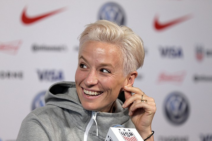 Megan Rapinoe, a member of the United States women's national soccer team, speaks to reporters during a news conference in New York, Friday, May 24, 2019. (Seth Wenig/AP)