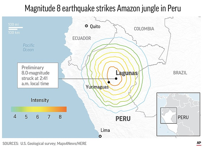 A powerful magnitude 8.0 earthquake has struck the Amazon jungle in north-central Peru. (AP map)