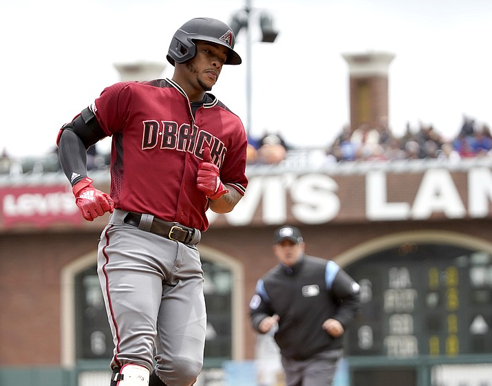 Arizona Diamondbacks' Ketel Marte rounds the bases after hitting a solo home run against the San Francisco Giants during the first inning of a baseball game in San Francisco, Sunday, May 26, 2019. (Tony Avelar/AP)