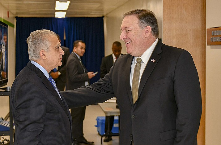 U.S. Secretary of State Michael Pompeo chats with Iraqi Foreign Minister Mohamed Alhakim after delivering opening remarks at the Meeting of the Ministers of the Global Coalition to Defeat ISIS at the U.S. Department of State in Washington, D.C., on Feb. 6, 2019. (State Department photo by Ron Przysucha)