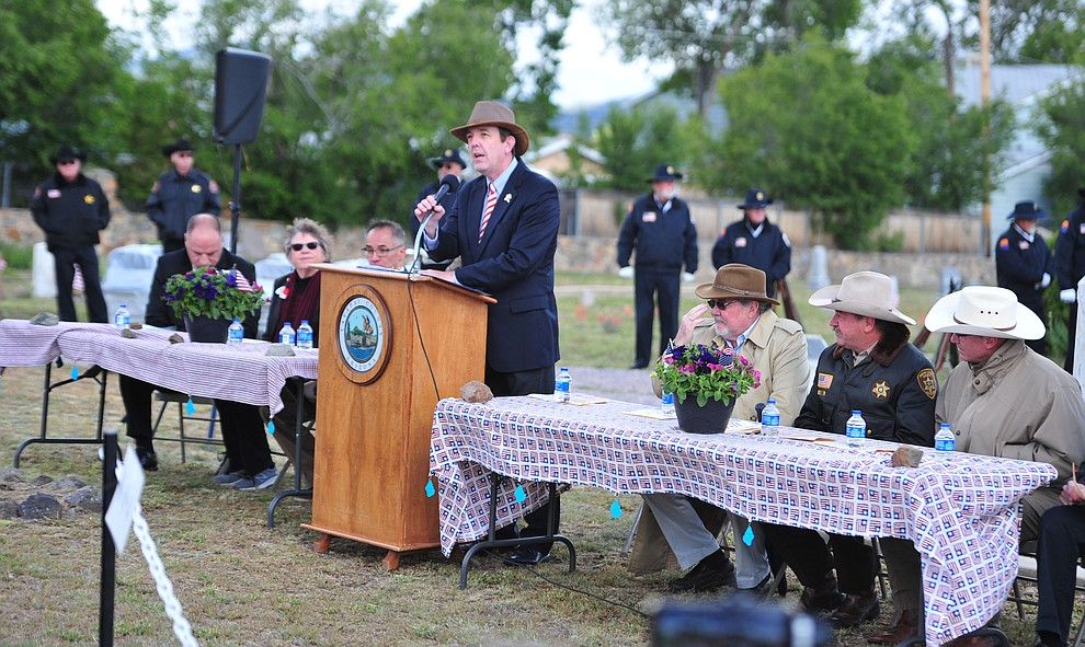 Ken Bennett speaks during the Memorial Day Ceremony at the Citizens Cemetery Monday, May 27 in Prescott. (Les Stukenberg/Courier)