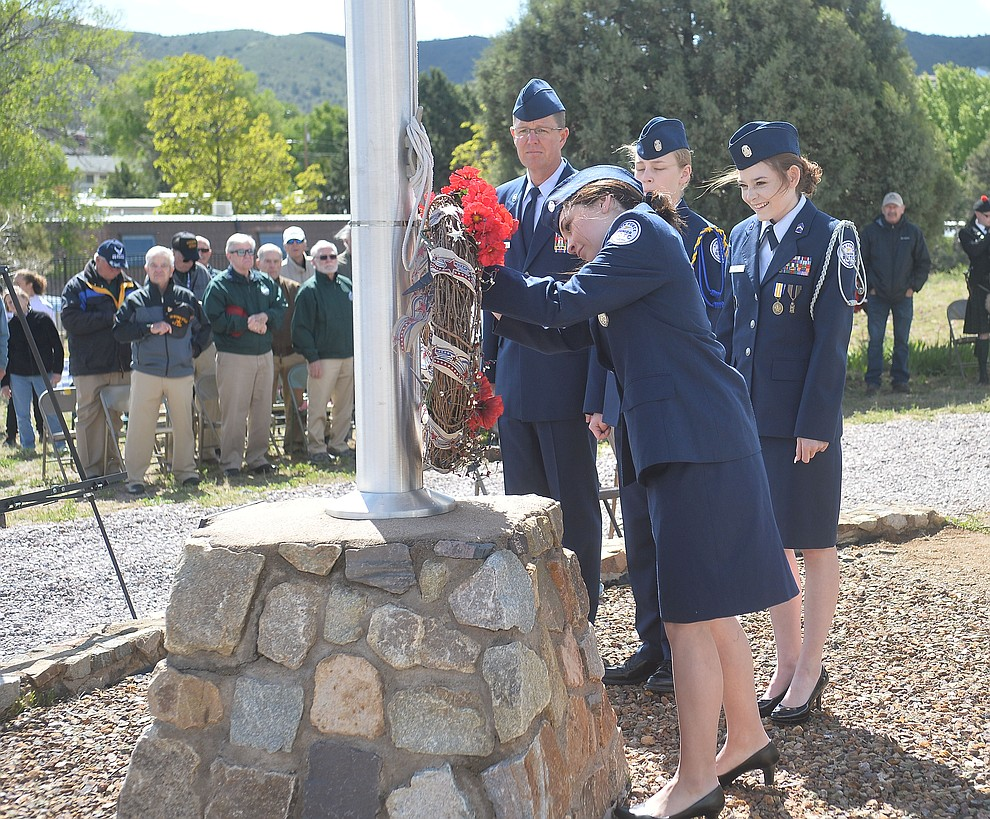 Prescott High School Junior Reserve Officer Training Corps members present the wreath during the Memorial Day Ceremony at the Citizens Cemetery Monday, May 27 in Prescott. (Les Stukenberg/Courier)