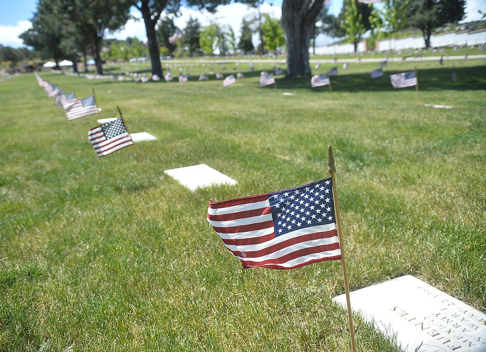 Flags were placed on all the gravesites for the Memorial Day Ceremony at the National Cemetery Monday, May 27 in Prescott. (Les Stukenberg/Courier)