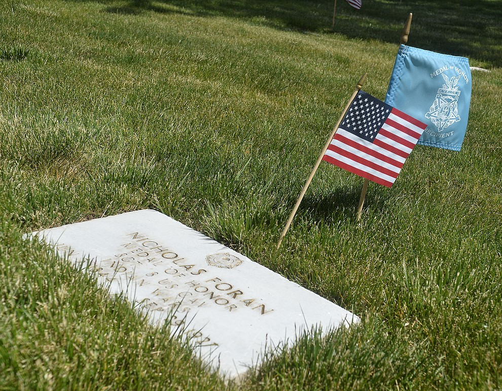 Nicholas Foran, a Medal of Honor recipient from the Indian Wars, is buried at the National Cemetery Monday, May 27 in Prescott. (Les Stukenberg/Courier)