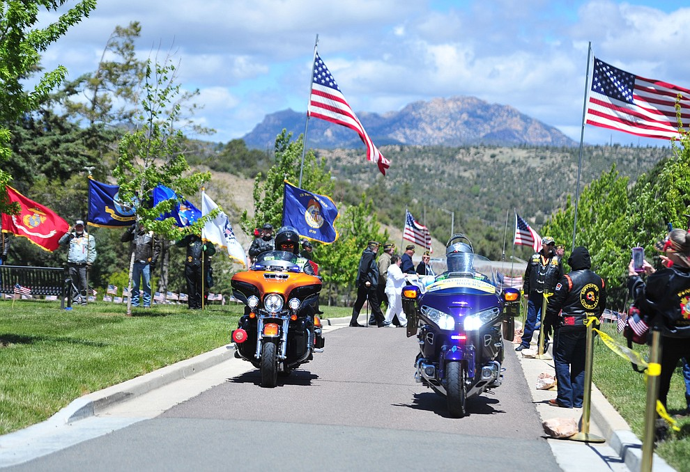 Members of the Patriot Guard ride in the processional during the Memorial Day Ceremony at the National Cemetery Monday, May 27 in Prescott. (Les Stukenberg/Courier)