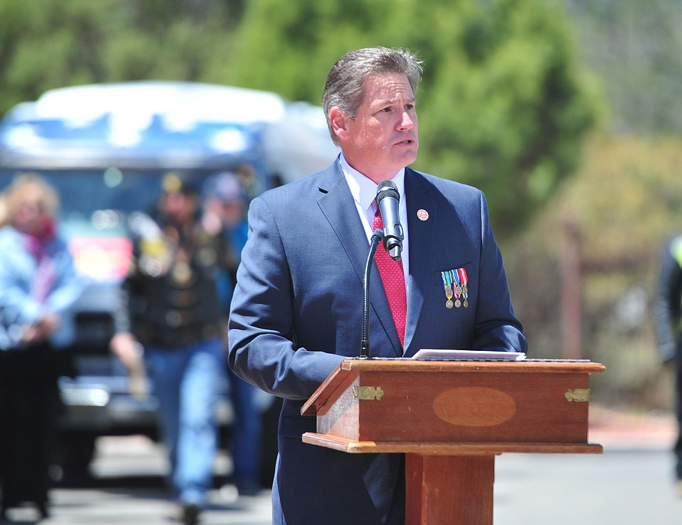 Yavapai County Supervisor Jack Smith speaks during the Memorial Day Ceremony at the National Cemetery Monday, May 27 in Prescott. (Les Stukenberg/Courier)