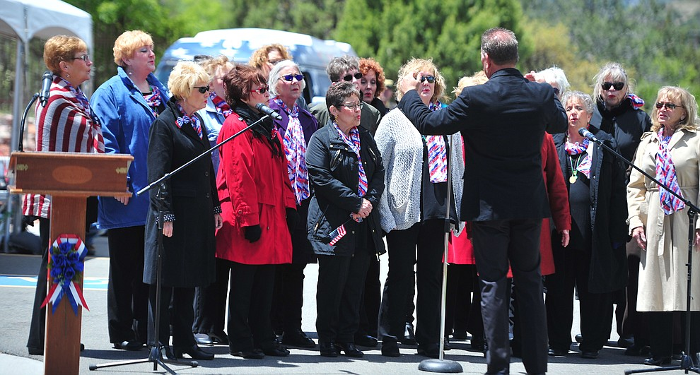 Song of the Pines Sweet Adelines sing patriotic songs during the Memorial Day Ceremony at the National Cemetery Monday, May 27 in Prescott. (Les Stukenberg/Courier)