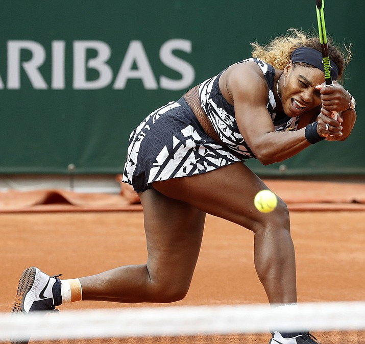 Serena Williams of the U.S. plays a shot against Vitalia Diatchenko of Russia during their first round match of the French Open tennis tournament at the Roland Garros stadium in Paris, Monday, May 27, 2019. (Pavel Golovkin/AP)