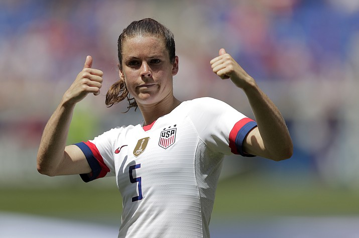 Kelley O'Hara, a defender for the United States women's national team, which is headed to the FIFA Women's World Cup, is introduced for fans during a send-off ceremony following an international friendly soccer match against Mexico, Sunday, May 26, 2019, in Harrison, N.J. The U.S. won 3-0. (Julio Cortez/AP)