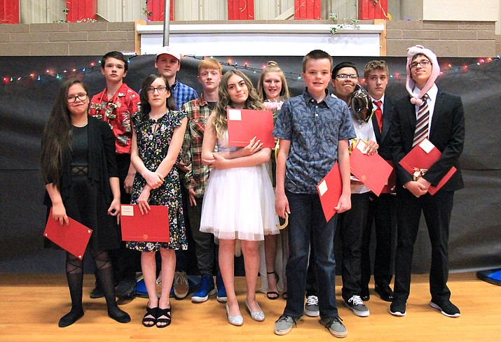 Maine Consolidated School eighth graders attend a promotion night May 22. The class of 2023 includes Amberia Chester, Lucas Goldberg, Kylie Golson, Anizia Herrera-Lomas, Jesse Howell, Lucas Martinez, Ivan Ortega, Michael Resseger, Kent Stafford, Aspen Weatherhead and Angel Zavala. (Wendy Howell/WGCN)