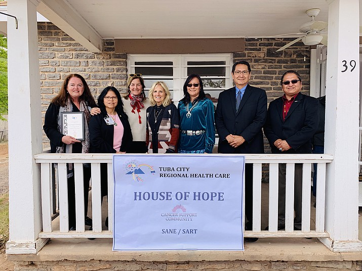Navajo Nation President Jonathan Nez joins Dr. Jill Biden, CEO of TCRHCC Lynette Bonar and other health industry leaders in Tuba City at the House of Hope, the new cancer treatment facility on the Navajo Nation. (Office of the President and Vice President)