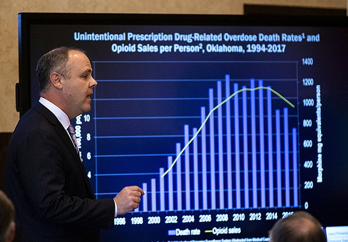 State's attorney Brad Beckworth speaks during the opening statements during the opioid trial at the Cleveland County Courthouse in Norman, Okla., Tuesday, May 28, 2019. The proceeding is the first public trial to emerge from roughly 2,000 U.S. lawsuits aimed at holding drug companies accountable for the nation's opioid crisis. (Chris Landsberger/The Oklahoman)