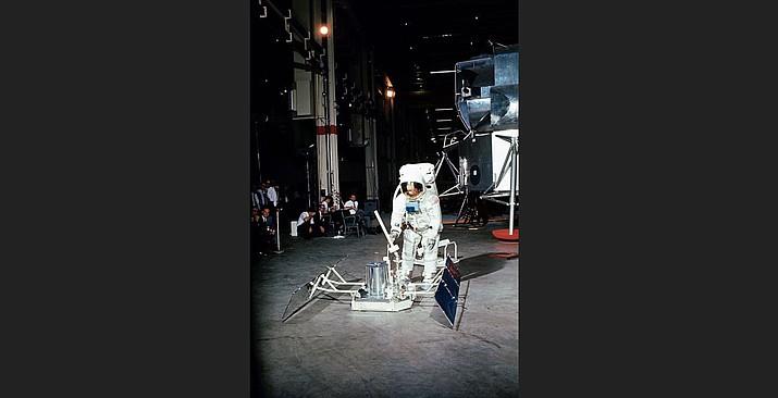 Apollo 11 crew, of Armstrong and Aldrin, in Building 9 practicing the lunar extravehicular activity (EVA) sequences. (NASA photo)