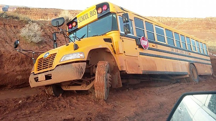 Schools in tribal areas face a number of challenges, including roads, which can make it hard to get students to school. (Photo courtesy San Juan County, Utah, Roads Department)