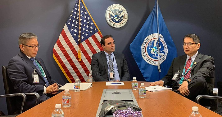 Navajo Nation President Jonathan Nez (right) and Vice Preident Myron Lizer (left) meet with representatives of the Trump administration May 21. (Photo/Office of the President and Vice President