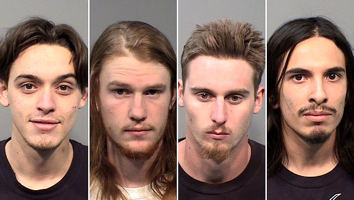 """Michael Shane Cernak, Zachary Steven Foster, Nicholas Lee Lamb and Raphael Antonio Villa were arrested on multiple charges Sunday, May 26, 2019, during a """"Buckle-Up Campaign"""" stop in Prescott. (Yavapai County Sheriff's Office/Courtesy)"""